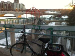 View of the Bow River from the 10A St pedestrian bridge, about 5:30 pm