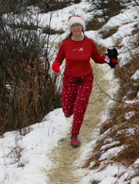 Karen runs trails in penguin print pajamas